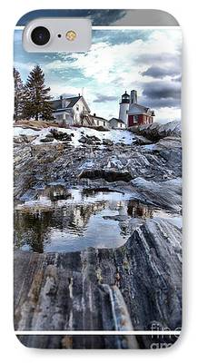 Winter In Maine Mixed Media iPhone Cases