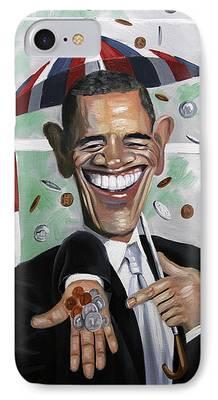 President Obama Digital Art iPhone Cases