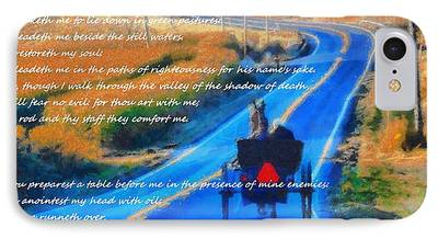 Horse And Buggy Mixed Media iPhone Cases