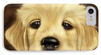 Dog Close-up Paintings iPhone Cases