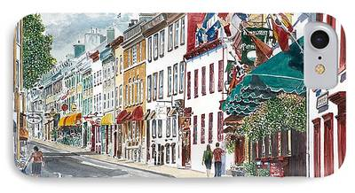 Quebec Streets Paintings iPhone Cases