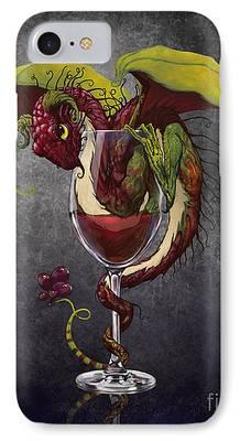 Red Wine Digital Art iPhone Cases
