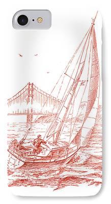 Bay Bridge Drawings iPhone Cases