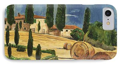Tuscan Hills Paintings iPhone Cases