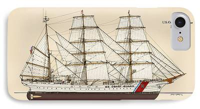 Tall Ship Drawings iPhone Cases