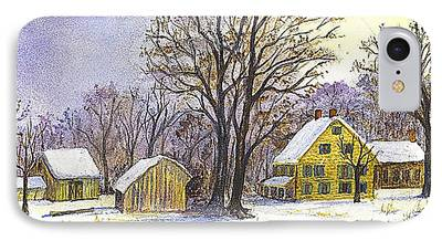 New England Snow Scene Drawings iPhone Cases