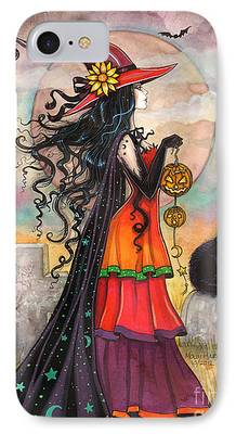 Witch Halloween Cat Wicca Paintings iPhone Cases