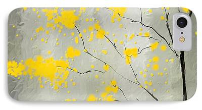 Green And Yellow Abstract iPhone Cases