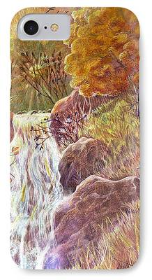 Autumn Scenes Drawings iPhone Cases