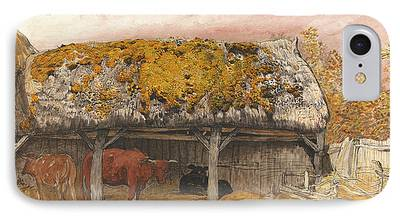 Old Barn Drawing Paintings iPhone Cases