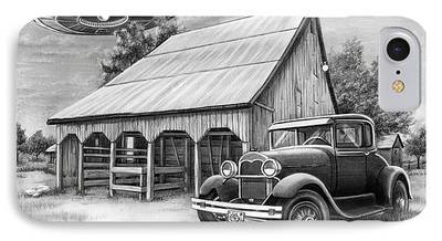 Old Barn Drawing iPhone Cases