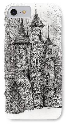 Haunted House Drawings iPhone Cases