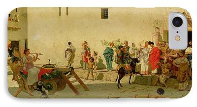 A Roman Street Scene With Musicians And A Performing Monkey iPhone Cases