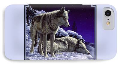Dogs In Snow Paintings iPhone Cases