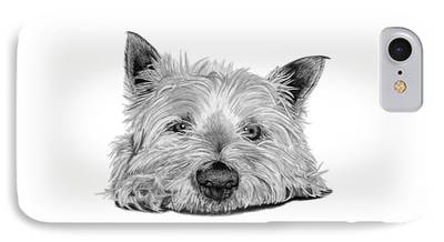 Dog Close-up Drawings iPhone Cases