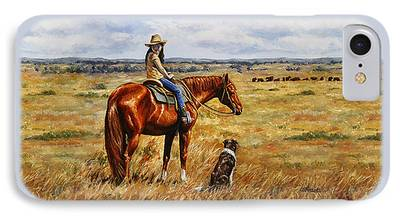 Cattle Dog Paintings iPhone Cases