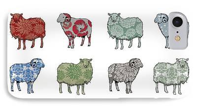 Sheep Digital Art iPhone Cases