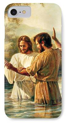 Baptism Paintings iPhone Cases