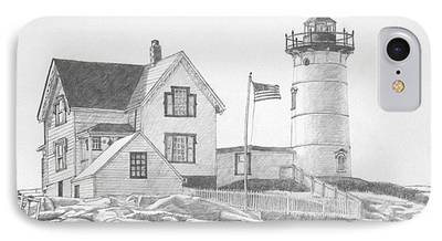 Cape Neddick Lighthouse Drawings iPhone Cases