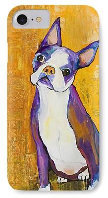 Boston Terrier Animals Acrylic Dog Portraits Pet Portraits Animal Portraits iPhone Cases