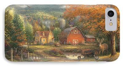 Autumn Scenes Paintings iPhone Cases