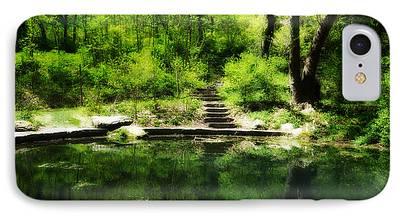 Nature Center Pond Digital Art iPhone Cases