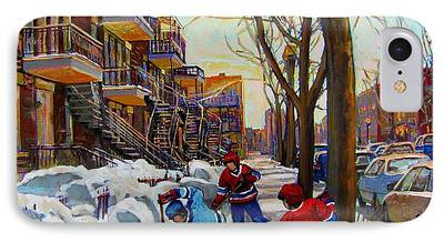 Kids Playing Hockey Paintings iPhone Cases