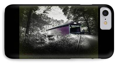 Covered Bridge Mixed Media iPhone Cases