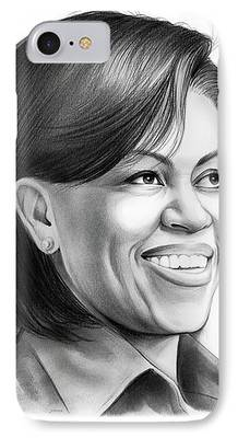 Michelle Obama Drawings iPhone Cases