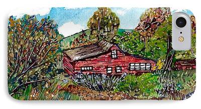 Pen And Ink Of Barn Mixed Media iPhone Cases