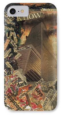 Twin Towers Nyc Paintings iPhone Cases