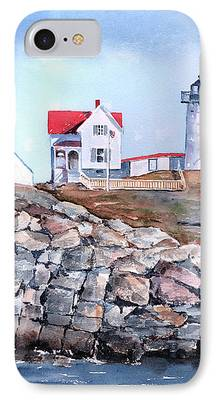 Nubble Lighthouse Paintings iPhone Cases