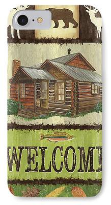 Cabin Window Mixed Media iPhone Cases