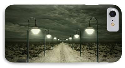 Street Lamps Digital Art iPhone Cases