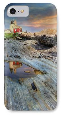 New England Lighthouse Mixed Media iPhone Cases