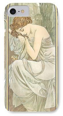 Art Nouveau Flower iPhone Cases