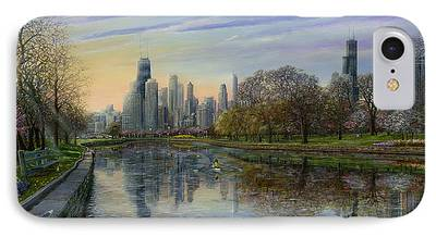 Willis Tower Paintings iPhone Cases