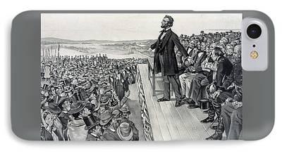 Civil War Battle Site Drawings iPhone Cases