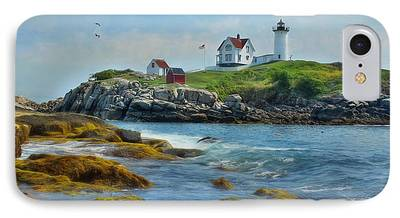 Nubble Lighthouse Mixed Media iPhone Cases