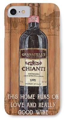 Wine Bottles Mixed Media iPhone Cases