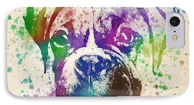 Boxer Puppy Digital Art iPhone Cases