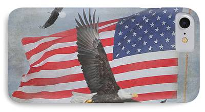 Eagle With Flag iPhone Cases