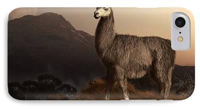 Llama Digital Art iPhone Cases