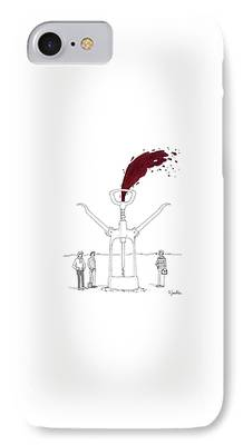 Wine Bottle Drawings iPhone Cases