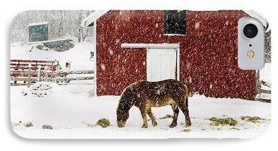 New England Snow Scene iPhone Cases
