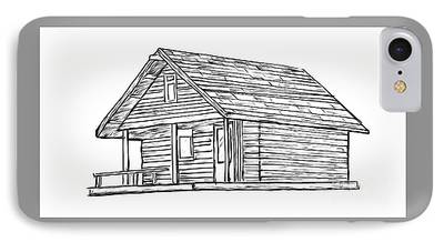 Cabin Window Drawings iPhone Cases