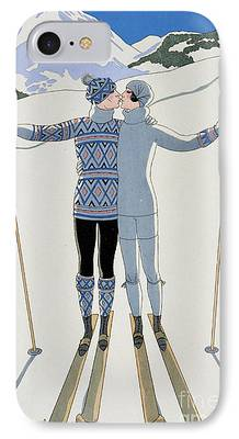 Snow Sports Paintings iPhone Cases
