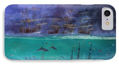 Pirate Ship Mixed Media iPhone Cases