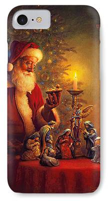 Santa Paintings iPhone Cases