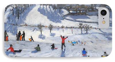 Winter Sports Paintings iPhone Cases